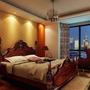 美式简约风格床头壁纸装饰