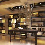 欧式别墅大型开放式书柜装饰