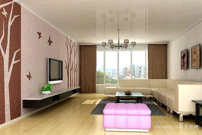 简约欧式客厅 硅藻泥背景墙 装修效