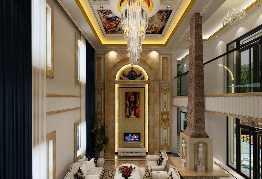 别墅 型豪华客厅欧式 罗马柱 背景墙装修效高清图片