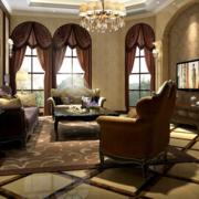 美式深色系客厅飘窗装饰