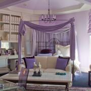 欧式紫色系卧室吊顶装饰