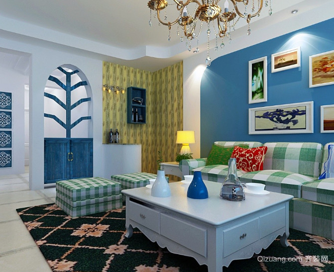 70平米地中海风格客厅玄关装修效果图