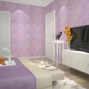 三室一厅现代简约风格卧室电视背景墙