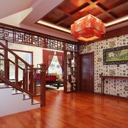 东南亚风格深色楼梯装饰