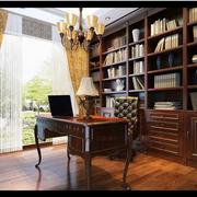 欧式别墅大型深色系书柜设计