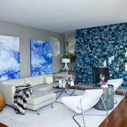 办公区蓝色系创意背景墙装饰