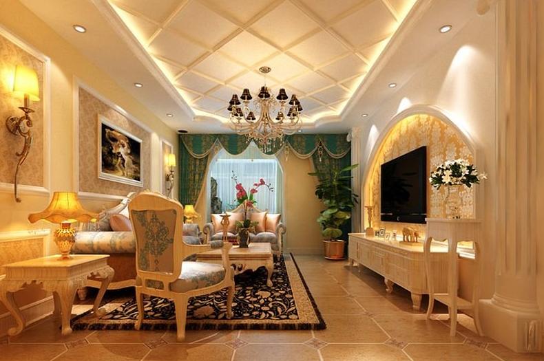 15别墅型豪华客厅欧式 罗马柱背景墙装修效高清图片