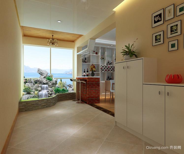 三室一厅欧式客厅进门玄关鞋柜装修效果图