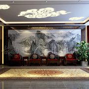 办公室简约风格山水画背景墙装饰
