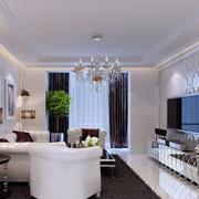 欧式简约风格客厅壁纸装饰