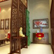 中式简约风格玄关原木隔断装饰