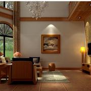100平米房屋东南亚客厅背景墙装饰