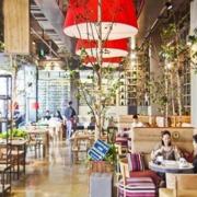大型清新自然咖啡厅效果图