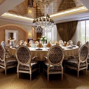 欧式奢华餐厅密集式吊顶装饰