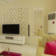 韩式清新迷人客厅电视背景墙