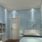 现代简约风格蓝色系卧室装饰
