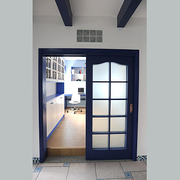 地中海风格简约蓝色厨房推拉门装饰