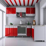 现代清新风格红色厨房橱柜装饰