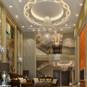 别墅奢华欧式客厅圆形吊顶装饰