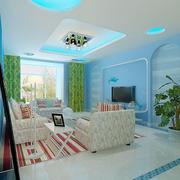 浅蓝色客厅电视背景墙