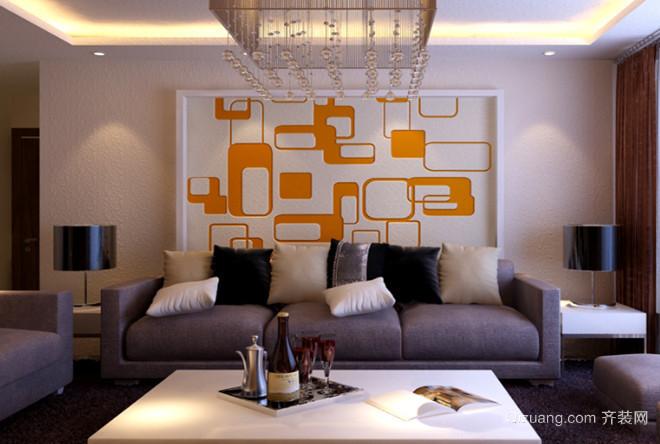 2015小户型简约欧式客厅硅藻泥背景墙装修效果图