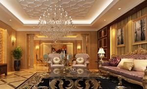 2015别墅型豪华客厅欧式罗马柱背景墙装修效果图