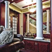 中式简约风格别墅罗马柱装饰