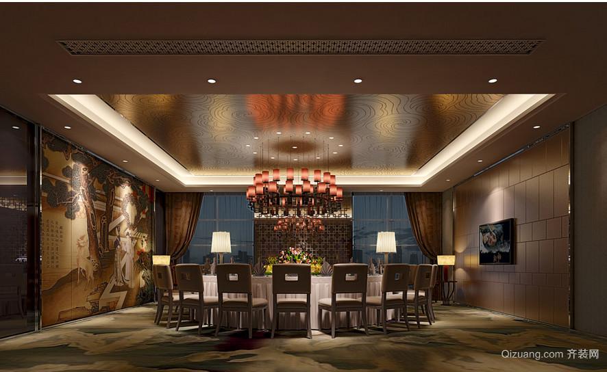 中式精致大型餐厅效果图