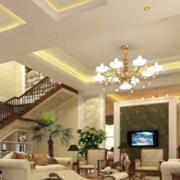 美式简约风格复式楼客厅吊顶装饰