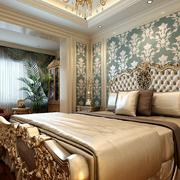 法式风格简约床头印花壁纸装饰