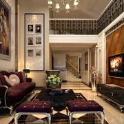 楼中楼欧式经典风格客厅背景墙装饰