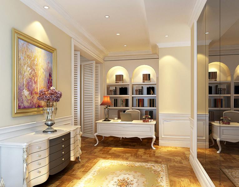 精致典雅的欧式风格书房设计效果图鉴赏