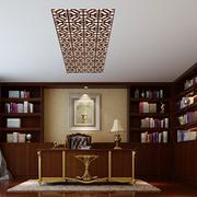 中式简约风格原木书房效果图