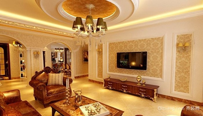 50平米欧式客厅简约石膏线电视墙效果图图片