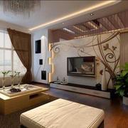简约风格深色系客厅背景墙装饰