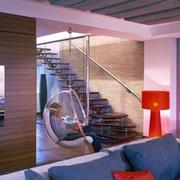 混搭风格客厅原木楼梯效果图