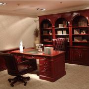 美式简约原木深色系书柜设计