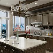 美式简约棕色系厨房橱柜装饰