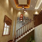 中式简约风格楼梯吊顶装饰