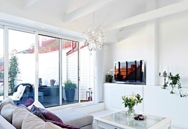 单身公寓客厅落地窗装修设计效果图