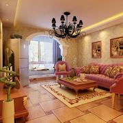 欧式田园风格客厅罗马柱装饰
