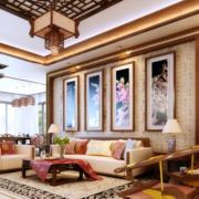 中式简约风格别墅客厅墙衣装饰