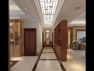 2015大户型现代中式客厅博古架装修效果图