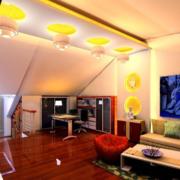 美式阁楼客厅红木地板装饰