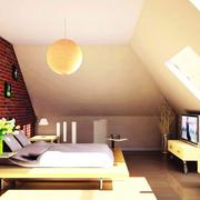 美式斜顶阁楼卧室效果图