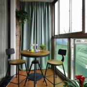 复式简约风格阳台原木地板装饰