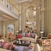 欧式田园风格楼中楼客厅沙发装饰
