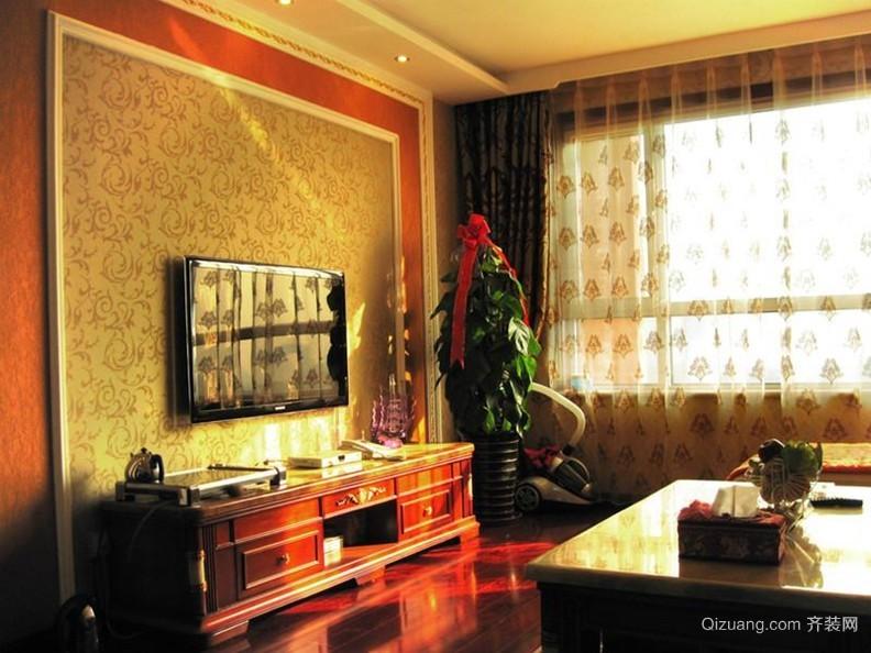 50平米欧式客厅简约石膏线电视墙效果图