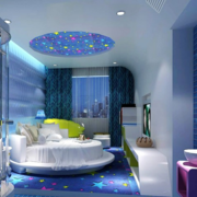 地中海简约风格卧室蓝色系吊顶装饰